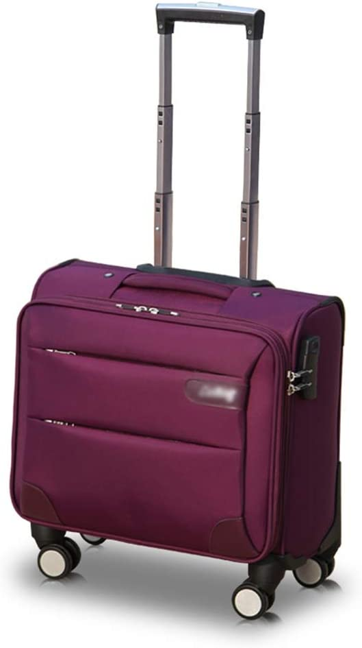Travel Trolley Case Suitcase Spinner Hand Luggage Check-in Hold Luggage Expandable Strong Lightweight Small Business Universal Wheel Oxford Cloth GAOFENG Color : Purple, Size : 14 inches