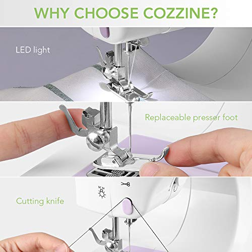 Máquina de Coser Eléctrica Portátil, Cozzine Máquina de Coser Con Lámpara LED, 12 Puntos de Costura, Máquina de Coser Manual Automática con Control de ...