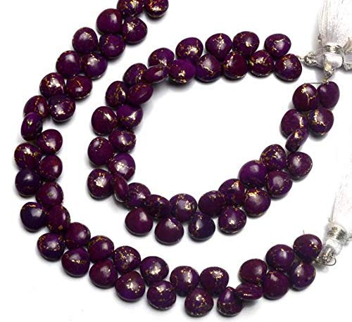 1 Strand Natural Mojave Purple Arizona Copper Turquoise 8MM Approx. Smooth Heart Shape Briolette Beads 7 Inch by Gemswholesale
