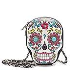 Sugar Skull Day of the Dead Cute Cross Body Handbags Women Purse Fashion Calavera Single Shoulder Bag (White)