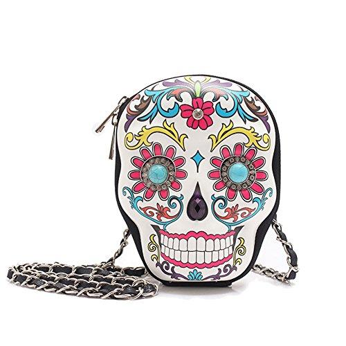 Sugar Womens Bag - Sugar Skull Day of the Dead Cute Cross Body Handbags Women Purse Fashion Calavera Single Shoulder Bag (White)
