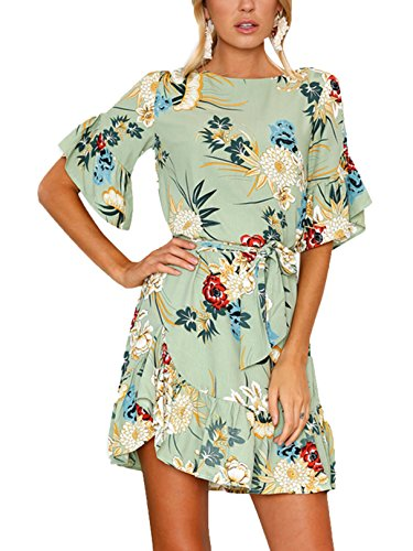 YOINS Dresses for Women Random Floral Print Mini Dress Round Neck with Half Flared Sleeves Green (Flared Sleeves Mini Dress)