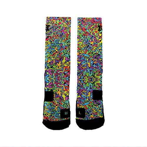 HoopSwagg Brand Athletic Socks Graffiti,Multi,Extra-Large