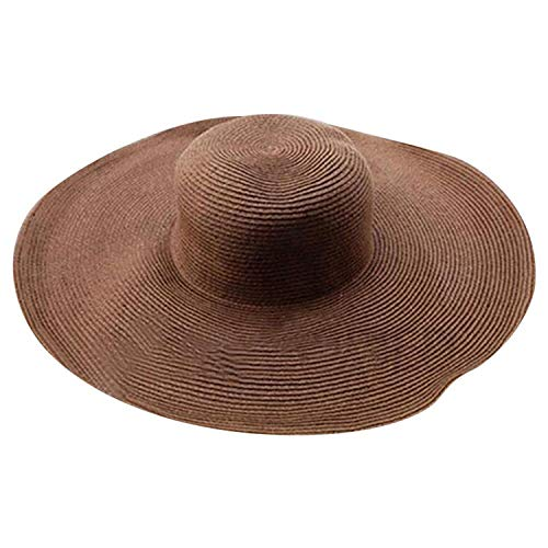 Women Solid Color Big Brim Straw Hat Sun Floppy Wide Brim Hats Beach Cap,C