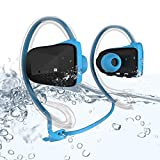 Waterproof Wireless Sport Headset Headphone Earpiece , Bluetooth 4.0 Support APTX NFC Music Stereo In-ear Earbuds Earphone , Dual Microphone , Suitable for Running Cycling Jogging Yoga Gym , Blue