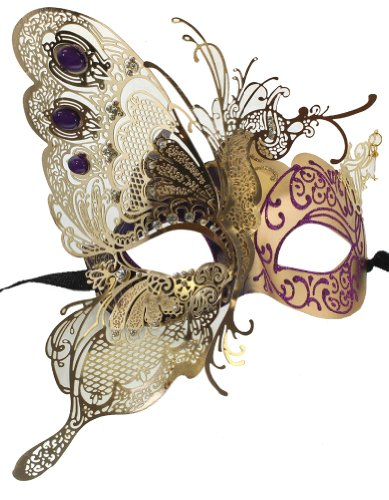 RedSkyTrader Womens Dragon Metal Mask One Size Fits Most Purple Gold -