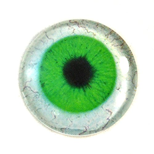 Green Human Glass Eye Single 25mm Eyeball with Whites for Taxidermy Sculptures or Jewelry Making Pendants Crafts 1 Inch Art Doll Wire Wrapping DIY Flatback (Wire Wrapping Cabochons)