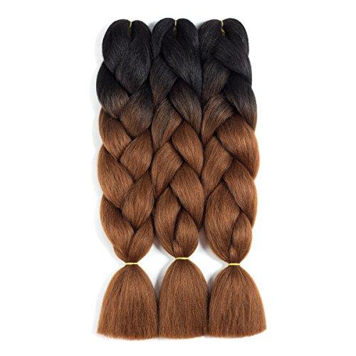 CCmargue Jumbo Braiding Hair 3pcs Ombre Braiding Hair Extensions High Temperature 2 Tone T1B/Dark Brown Color Synthetic Hair(3pcs, T1B/Dark Brown)