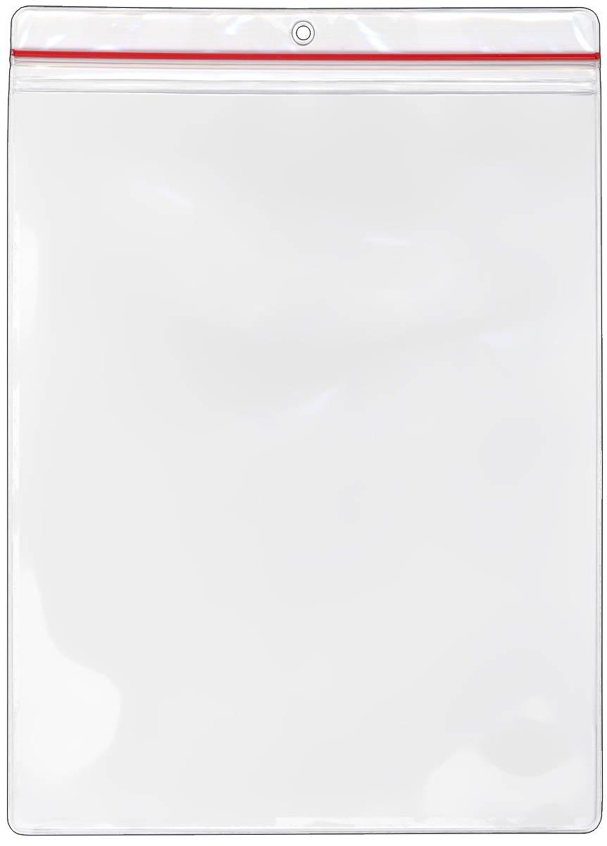 StoreSMART - 8 1/2'' x 11'' Zip-Top Pockets - 100-Pack - Clear Vinyl Plastic - R1284ZIPS-100