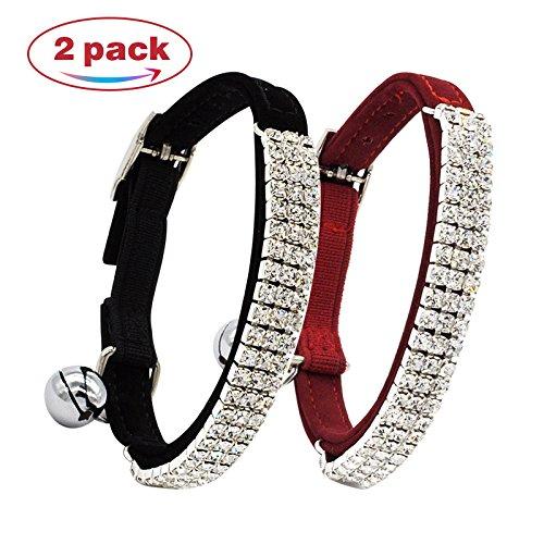 CHUKCHI Soft Velvet Safe Cat Adjustable Collar Bling Diamante With Bells,2 Pcs Black+Red