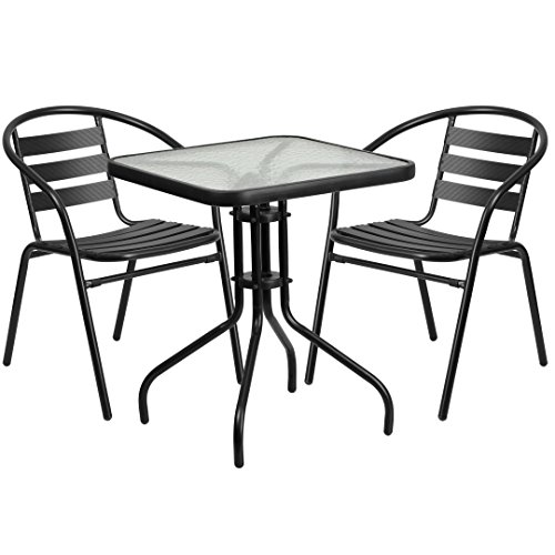 MFO 23.5'' Square Glass Metal Table with 2 Black Metal Aluminum Slat Stack Chairs