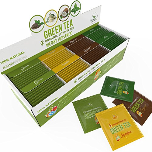 [Organic Green Tea - Variety Pack - Organic Green Tea infused with Vitamins from All Natural Fruit Sources - 80 Tea Bags - 20 of Each Flavor (2 grams each) ] (Optimum Flavored Vitamins)