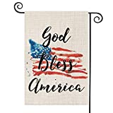 AVOIN God Bless America 4th of July Garden Flag Vertical Double Sided Patriotic Strip and Star American Flag, Memorial Day Independence Day Burlap Yard Outdoor Decoration 12.5 x 18 Inch