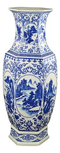 "Festcool 25"" Classic Blue and White Hexagonal Porcelain Vase, Landscape Painting Ceramic China Qing Style (D9)"