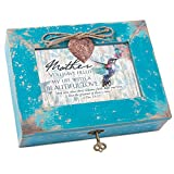 Cottage Garden Mother Filled My Life With Love Teal Distressed Locket Music Box Plays Amazing Grace
