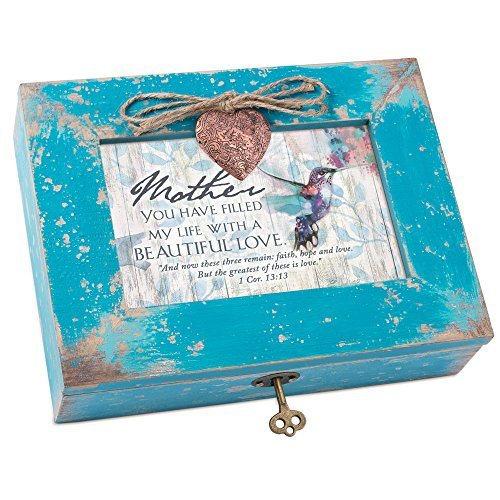 Cottage Garden Mother Filled My Life With Love Teal Distressed Locket Music Box Plays Amazing Grace by Cottage Garden