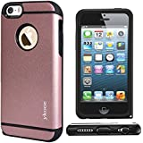 iPhone 5 Case, iPhone 5 SE Case, ykooe (Elegant Series) Slim fit Dual Layer Shockproof Rugged Rubber Hybrid Protective Case With Dust Plug Cover for Apple iPhone SE 5 5S (Rose Gold)