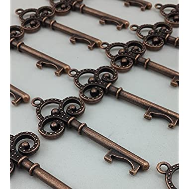 40x Small Antique Skeleton Key Copper Wedding Favor Bridal Shower Gift Steampunk Decoration Alice in Wonderland Keyring