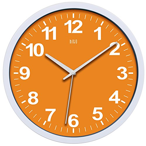hito Silent Wall Clock Non Ticking 12 inch Excellent Accurate Sweep Movement, Modern Decorative for Kitchen, Living Room, Bathroom, Bedroom, Office, Classroom (Orange) (Modern Kitchen Clocks)