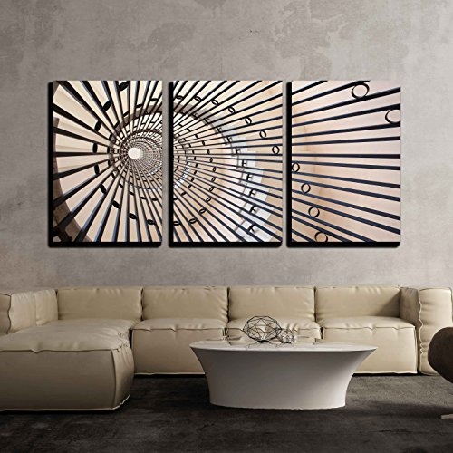 wall26 - 3 Piece Canvas Wall Art - View of a Spiral Staircase - Modern Home Decor Stretched and Framed Ready to Hang - 24