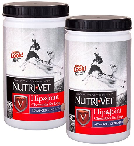 Nutri-Vet Hip & Joint Advanced Strength Chewables for Dogs, Safety-Sealed 300ct Twin-Pack by Nutri-Vet Wellness