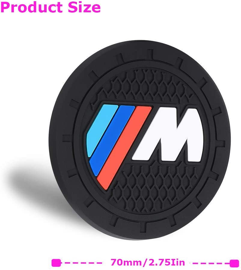 2 Pieces 2.75 Inch Anti Slip Car Logo Cupholder Mat Insert Silicone Coaster with M line Logo Toolacc Car Coasters Fit for Mline