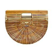 Miuco Womens Bamboo Handbag Handmade Large Tote Bag Size Large