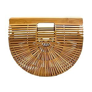 Miuco Womens Bamboo Handbag Handmade Large Tote Bag