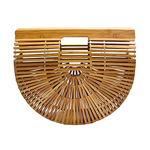 - 51DS03MEviL - Miuco Womens Bamboo Handbag Handmade Large Tote Bag