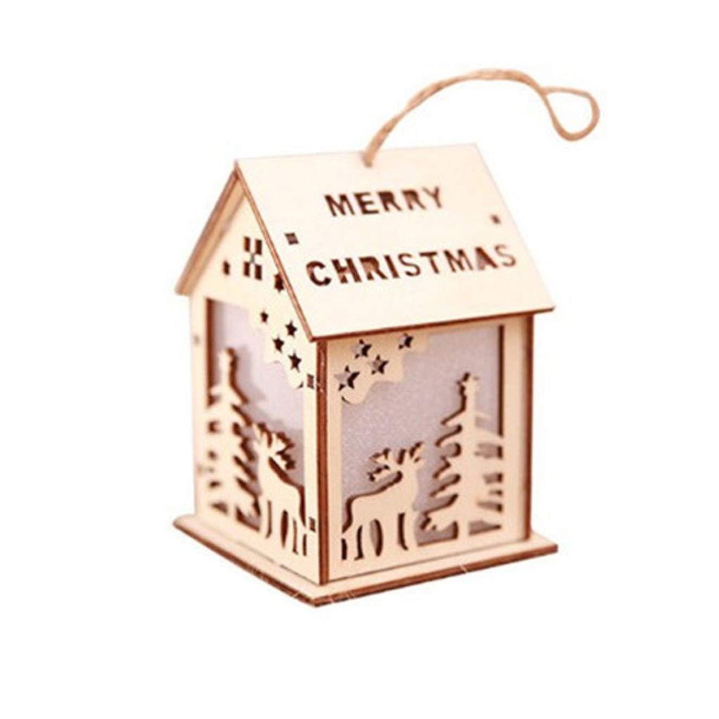 SimpleLife Luz de LED Mini Casa de Madera Á rbol de Navidad Adornos Colgantes Festival Decoració n 2 S