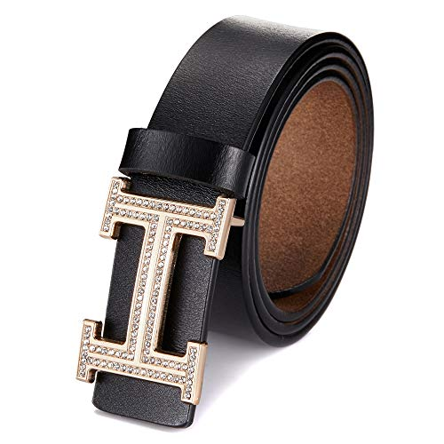 (Women's Cowhide Leather Belt Fashion Buckle for Pants Jeans Shorts Ladies Design Genuine Belts (105cm / 41.3'', pants size 26''-30'', Black))