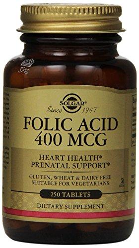 Comprimidos de Solgar ácido fólico, 400 mcg, 250 cuenta