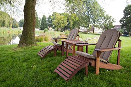 Relax Adirondack Set Öl (2 Stühle, Beistelltisch, 2 Fußstütze) exklusiven Mahagoni Hartholz