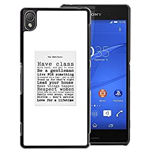 A-type Arte & diseño plástico duro Fundas Cover Cubre Hard Case Cover para Sony Xperia Z3 (Classy Gentleman Sir Text Poster Quote)
