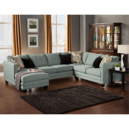 Furniture of America Opitzi Modern Sectional in Teal
