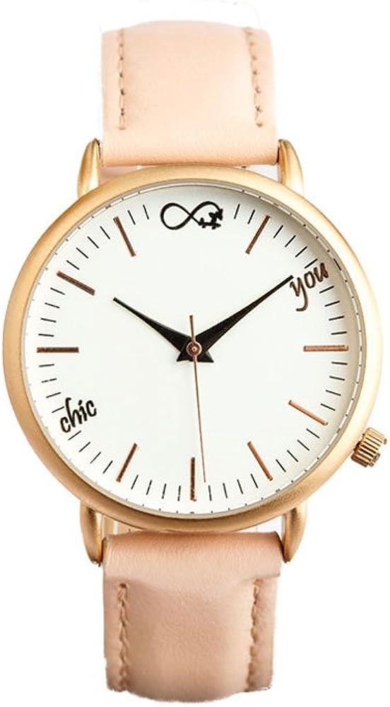 Reloj de Mujer Rosegold Charm by Chic You: analógico de Cuarzo japonés Miyota con Correa de Piel con Costura Color Rosa Palo, y Esfera Blanca con índices en Rosa y manecillas en Negro