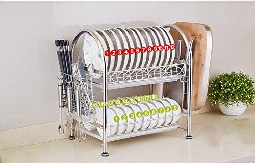 Hyun times 304 Stainless Steel Bowl Racks Drainage Rack Basket 2 Layers Dishwashers Plate Racks Chopsticks Kitchen Stowage Shelves by Hyun times Bowl shelf