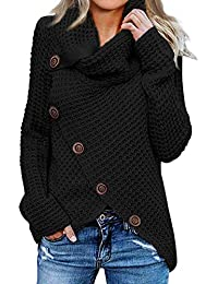 Women's Chunky Button Turtle Cowl Neck Asymmetric Hem Wrap Pullover Sweater