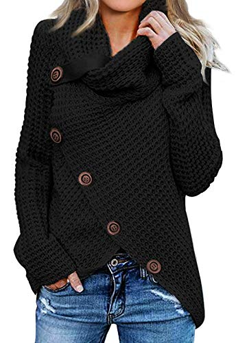 Asvivid Womens Cozy Turtleneck Cowl Neck Long Sleeve Sweater Winter Warm Button Asymmetrical Wrap Sweater Pullover Tops M Black American Eagle Cotton Sweater