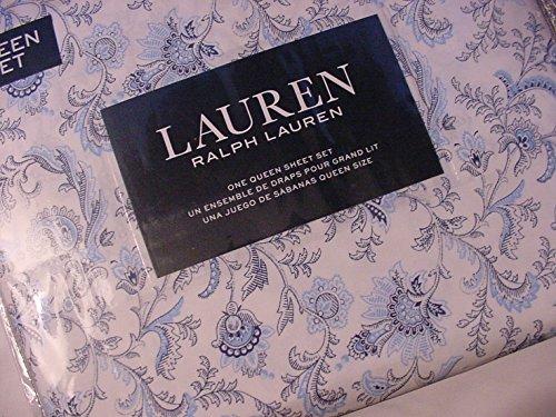 Ralph Lauren Blue and Navy Jacobean Floral on Off-White Sheet Set Queen - New Ralph Lauren Sheet