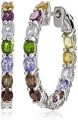 Sterling Silver Gemstone Hoop Earrings