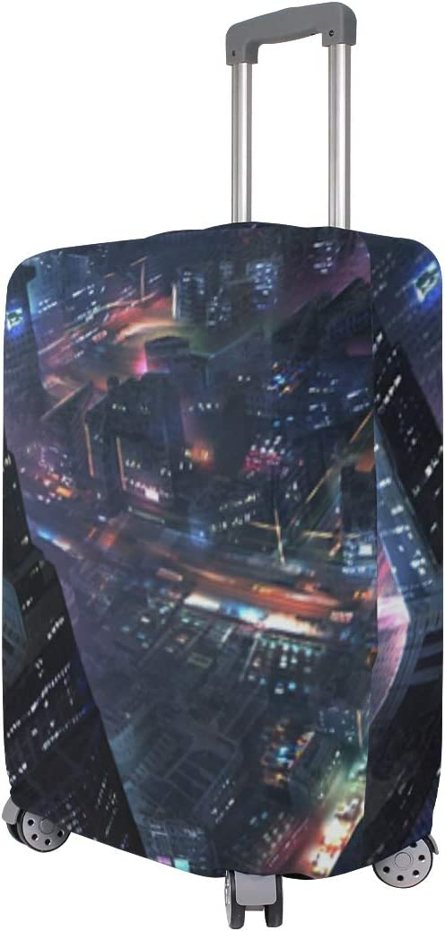 Future City Skyscrapers Night Lights Art Design suitcase cover elastic suitcase cover zipper luggage case removable cleaning suitable for 29-32 trunk cover