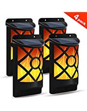 Solar Flame Lights Outdoor, Flickering Flame Wall Lights Outdoor Solar Spotlights Landscape Decoration Lighting Dusk to Dawn Auto On/Off 66 LEDWaterproof Solar Powered Wall Lights Garden