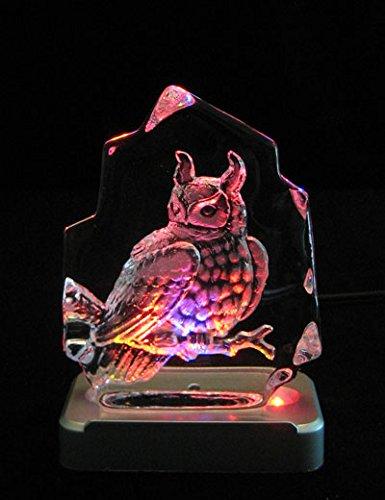 Crystal Lead Award 24% - JJ's Engraved Lead Crystal Owl on LED Color Light Base