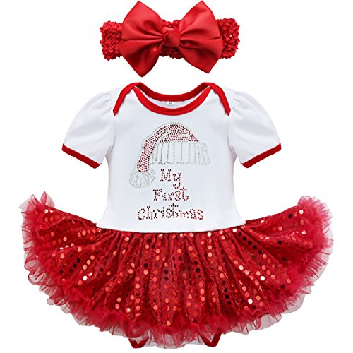 FEESHOW Baby Girls My First Christmas Outfit Romper Tutu Dress with Headband (3-6 Months, White Red Xmas Santa Hat)