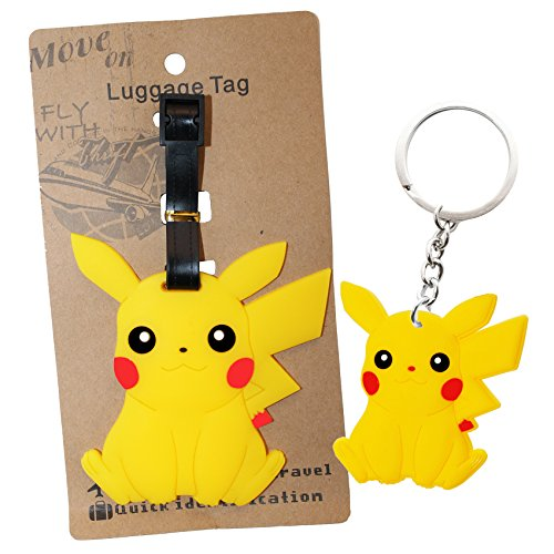 Pokemon Pearl Lucario (DIYJewelryDepot Pokemon Go Pikachu PVC Large Luggage ID Tag for Backpacks & Bags + Free Key Chain)