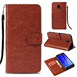 Ostop Samsung Galaxy J7 2018 Wallet Case,Flower PU Leather Case with Kickstand Card Holder Slots Magnetic Slim Flip Folio Cover Butterfly Floral Embossed Pattern,Classic Brown