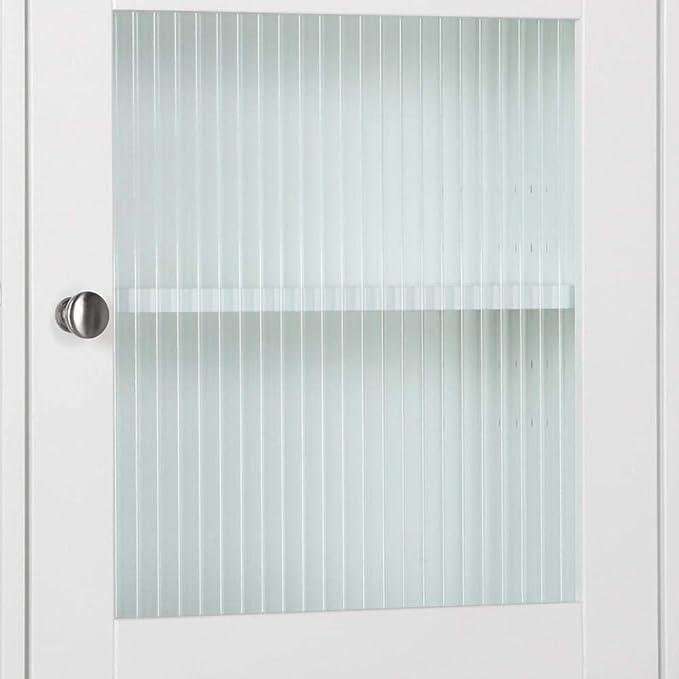 Yaheetech Organizador de baño sobre el inodoro, armario de almacenamiento moderno de madera con estante ajustable y puerta de cristal, color blanco: Amazon.es: Hogar