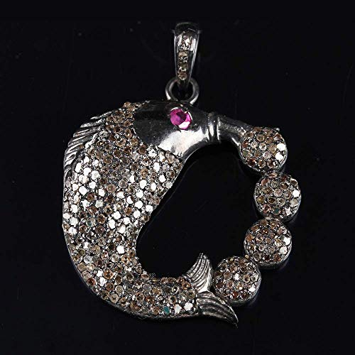 Natural 1.5 Ct. Pave Diamond Ruby Fish Animal Pendant Solid 925 Sterling Silver Vintage Style Fine Jewelry Christmas Day Gift ()