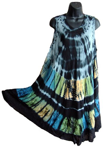Tie Dye Black Sundress / Swimsuit cover up Hand Made In India One Size R31A